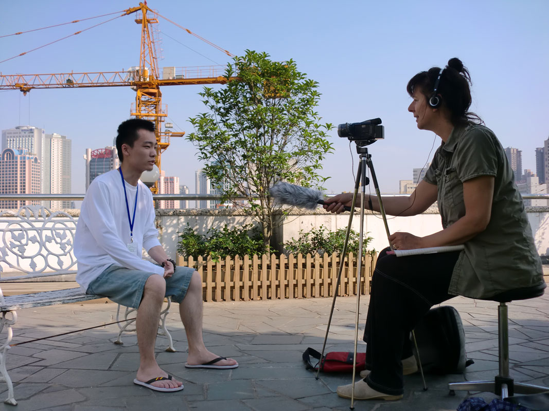 Filming on the roof in Shanghai